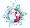Nice Girl Necklace Anna Elsa Sister Design Full Rhinestone Snow Flake Charm Kids Necklace Child Best