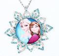 Nice Girl Necklace Anna Elsa Sister Design Full Rhinestone Snow Flake Charm Kids Necklace Child Best