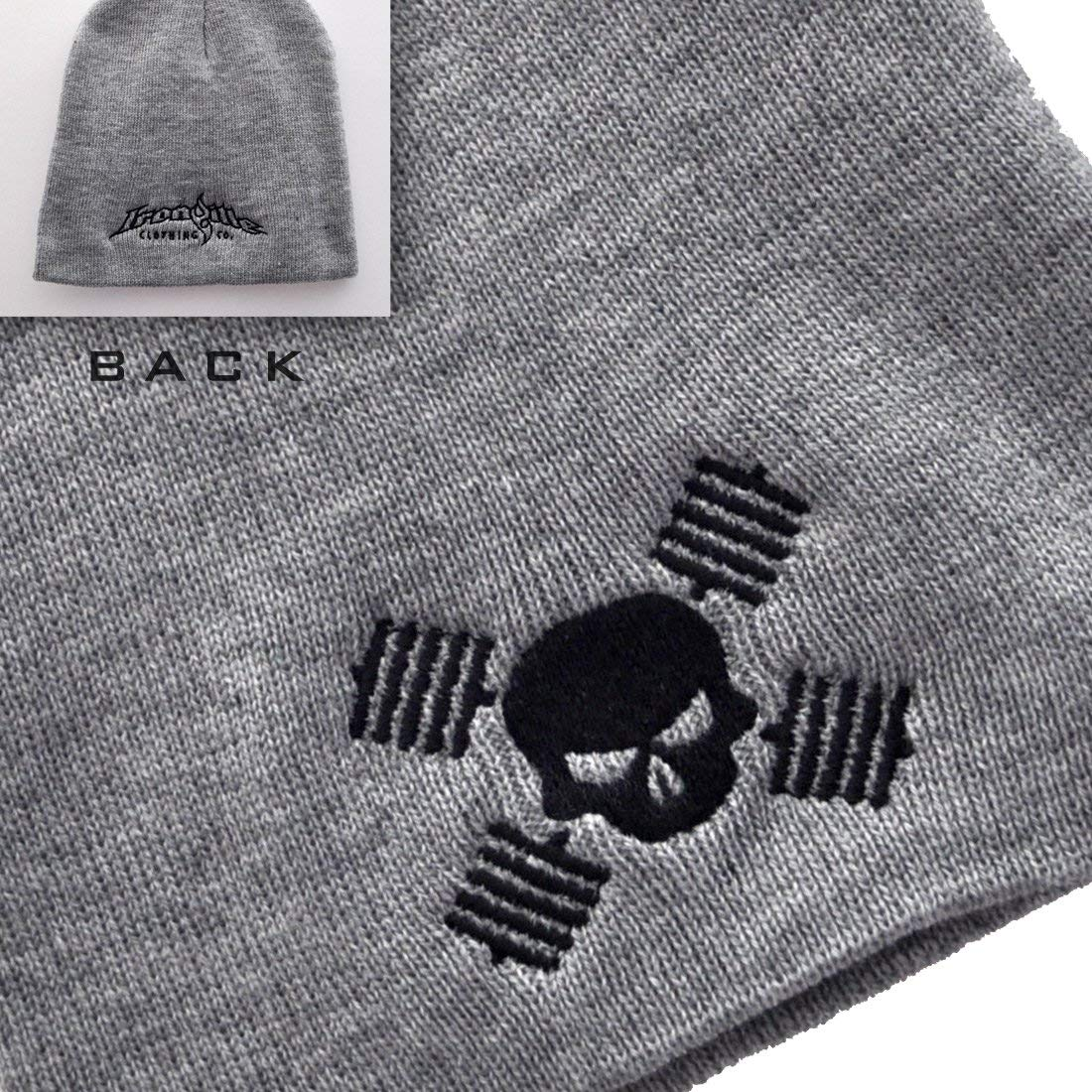 Get Quotations · Ironville Skull and Barbells Powerlifting Beanie Skull Cap  - Gray 75447aa2a1d5
