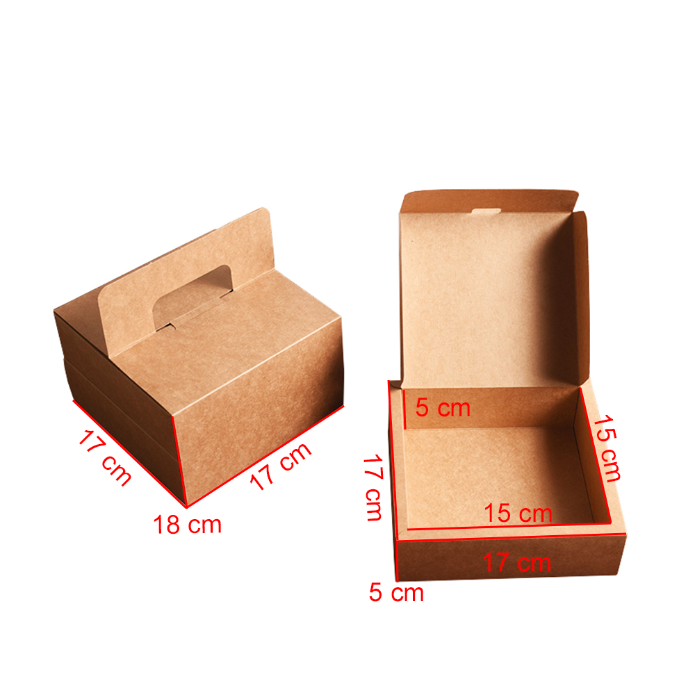 Kraft paper packaging afternoon tea cake box with handle