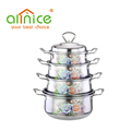 Hot sale Flower design casserole and cooking pot, Stainless Steel Cookware set
