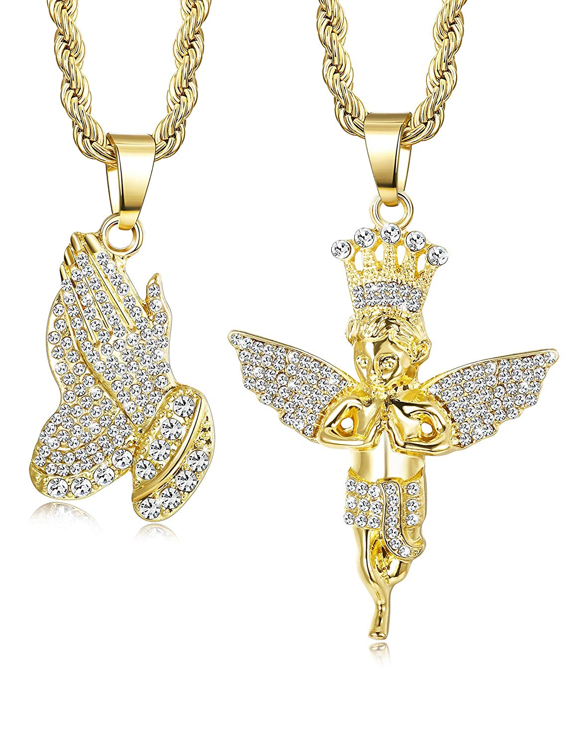 """Jstyle 2Pcs Gold Plated Necklaces for Women Men Prayer Hand Angel Pendant Necklace Ice Out Hip Hop Rope Chain 24"""" 30"""""""