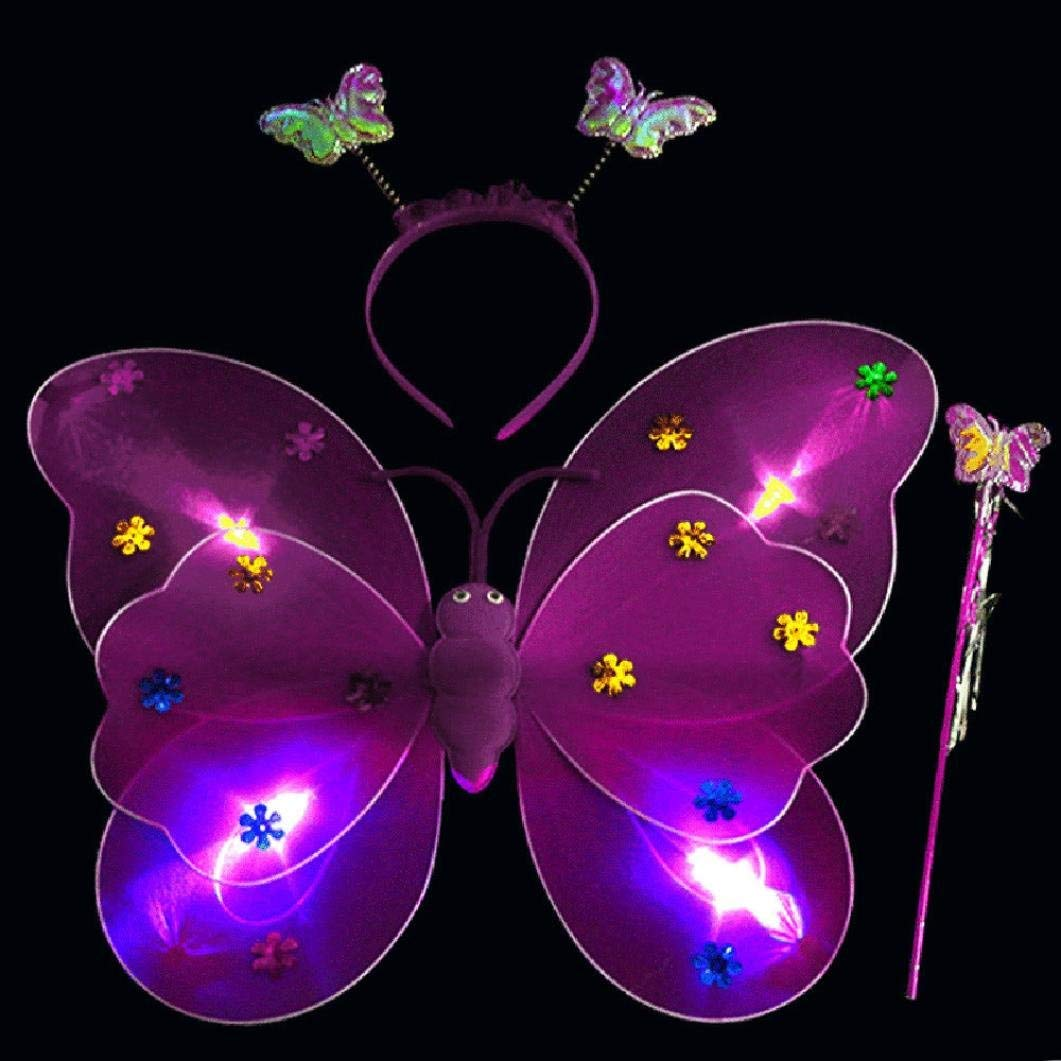 Iuhan Girls Led Fairy Butterfly Wing Wand Headband, 3pcs/Set Girls Led Flashing Light Fairy Butterfly Wing Wand Headband Costume Toy (Purple)