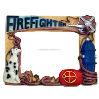 Resin Firefighter Picture Frame 3 1/2