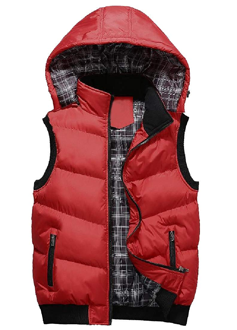 Abetteric Men Large Size Packable Zip-Front Gilet Chunky Puffy Vest
