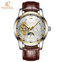 Wholesale China Watches Mechanical Moon Phase Chronograph Men Leather Stock Watch