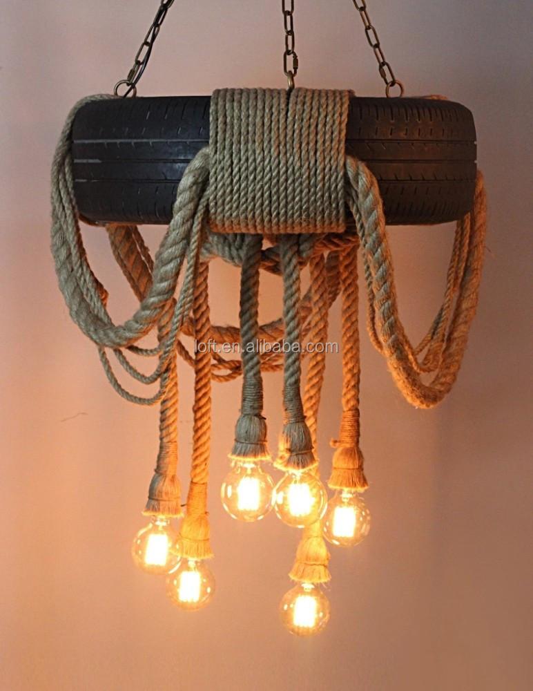 reale pneumatici illuminazione a sospensione lampadario fatto a mano corda di...