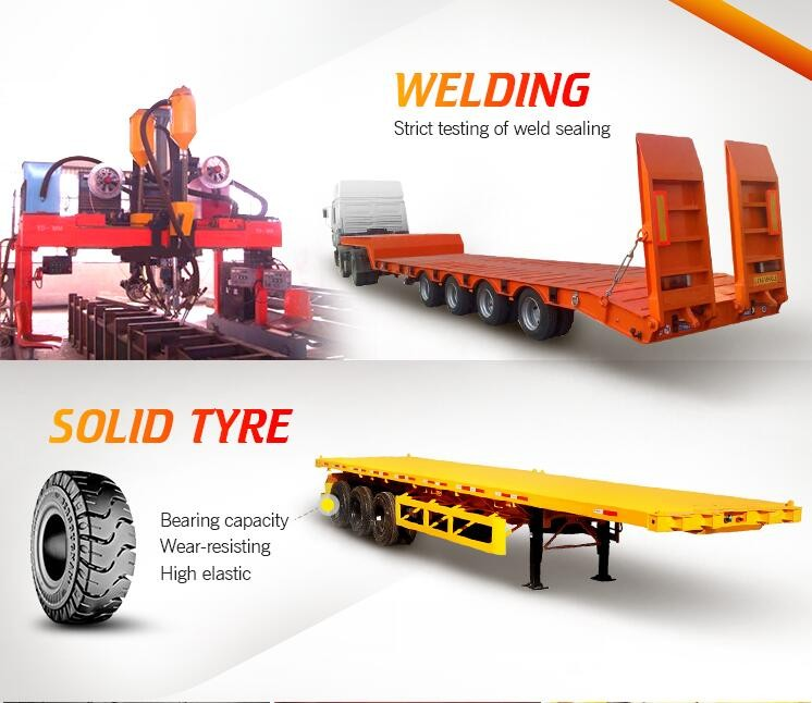 China manufacture heavy duty 3 axles 40ft 50 ton container carrier truck flatbed semi trailer