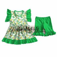 Newest Girls Boutique Outfits Cute Style Girls Cactus Milk Silk Outfit Kids Clothing Set Wholesale