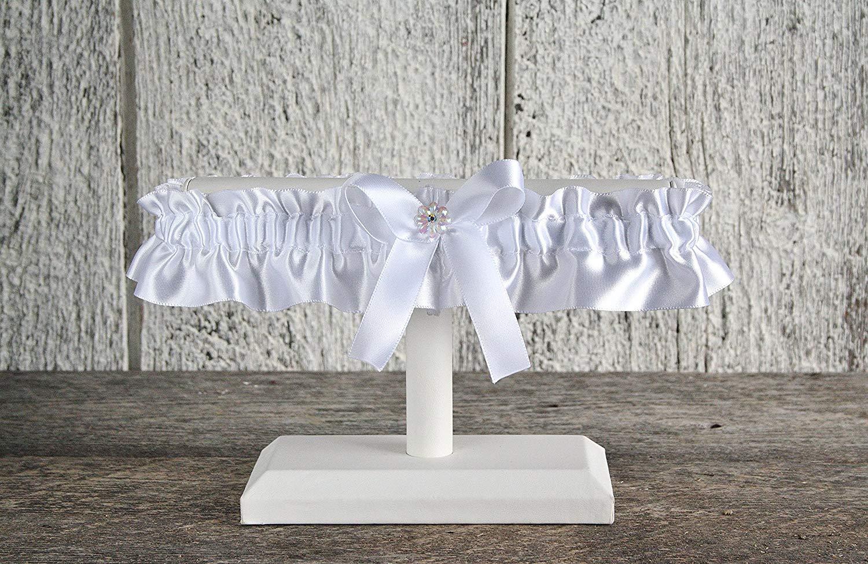 White satin wedding garter with iridescent flower and rhinestone, White prom and wedding lingerie, White wedding, Toss or keepsake garter