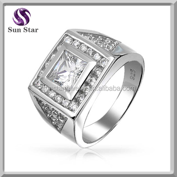 Sterling Silver Square Princess Cut Cz Pave Mens Engagement Ring ... acb44a8a3f