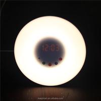 Simulate sunrise wake up light digital alarm clock with natural sound FM radio