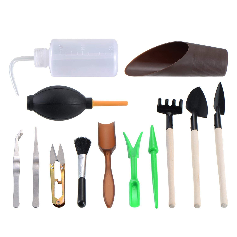 13 Pieces Mini Garden Hand Tools Transplanting Tools Succulent Tools Miniature Planting Gardening Tool Set