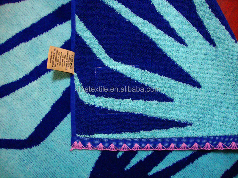 Pure Cotton Custom design larger velour beach towel with embroidered hem/fringes hem