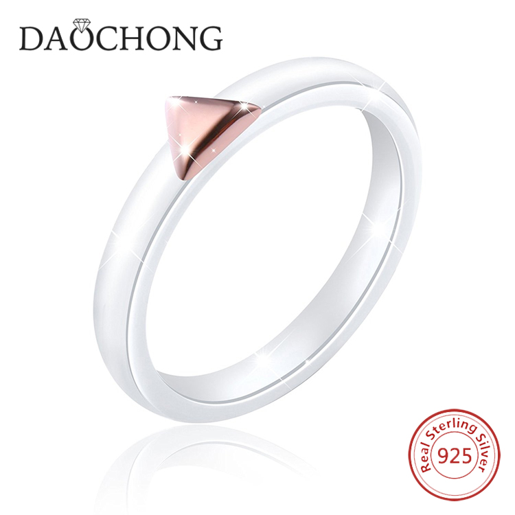 Wholesale Special Design Ceramic 925 Sterling Silver Rose gold plated Ring for girls