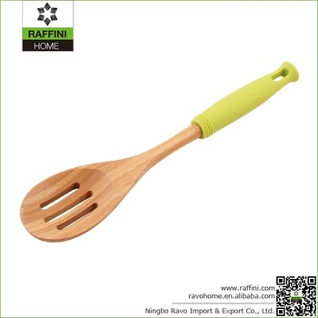 FSC Reusable Bamboo Slotted Spoons with Colored Silicone Handle