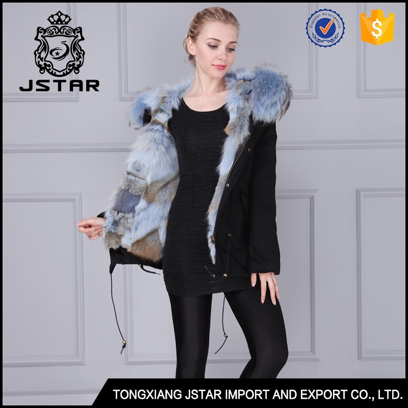 Short style light blue winter women jacket parka with real raccoon fur