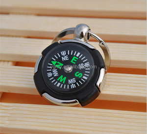 key chain round tire magnetic compass keychain multifunction key ring