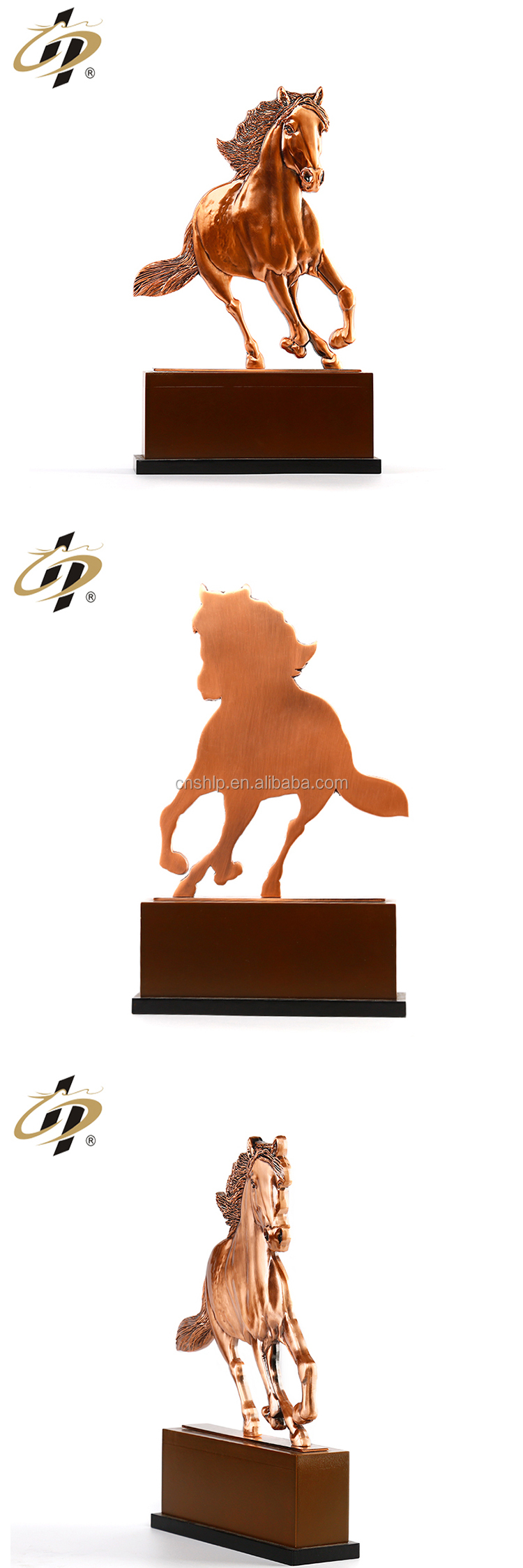 Steed shaped 3D horse custom metal souvenir trophy with base