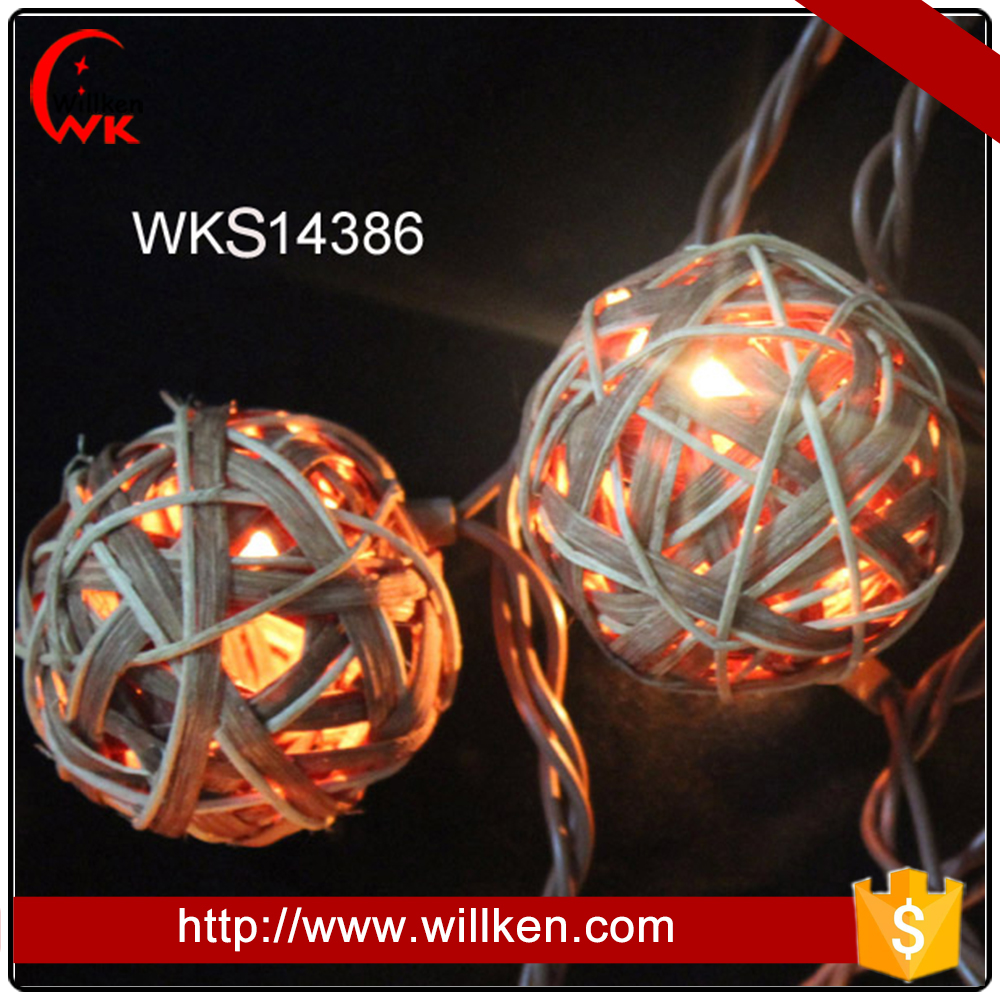 UL 588 listed outdoor rattan ball string lights commercial
