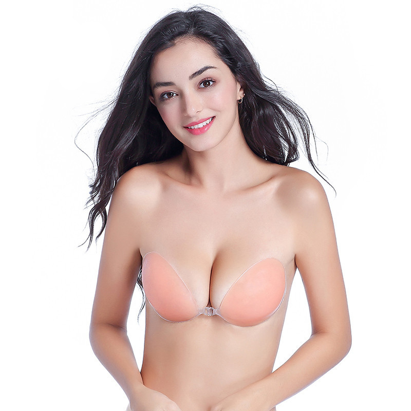 In Quality Women Wedding One Piece Deep U Silicone Bra Invisible Chest Paste Transparent Push Up Adhesive Bras Superior