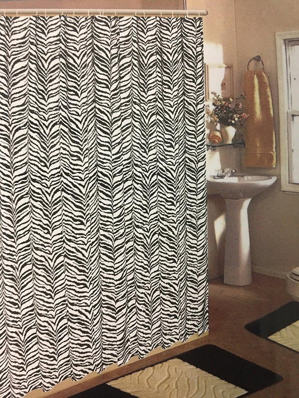 Get Quotations Black Zebra Print 15 Piece Jacquard Bathroom Set 2 Rugs Mats 1