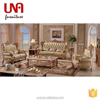 arabic luxury gold full grain leather sofa sets hand carved sofa set living room furniture made - Full Grain Leather Sofa