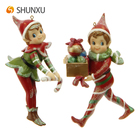 Resin Christmas Elf Figurines Ornaments 5 inches set of 2 Xmas Home Decor Gifts Eif Figurine