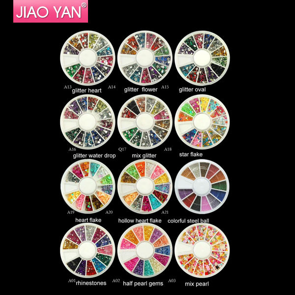 21 Styles 1.5mm/2.0mm 1200PCS NAIL ART TIP GLITTER RHINESTONES in WHEEL wholesale DHL/<strong>FEDEX</strong> Shipping #1304