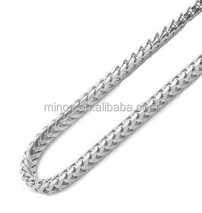 Mens 14k White Gold Filled Franco Chain Necklace, Stainless Steel 36in Franco Chain For Men