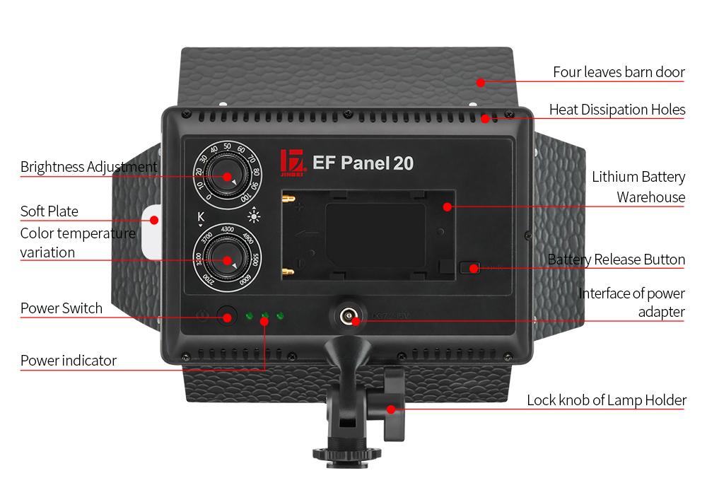 JINBEI EF-60 60W 5500K Portable LED Video Sun Light