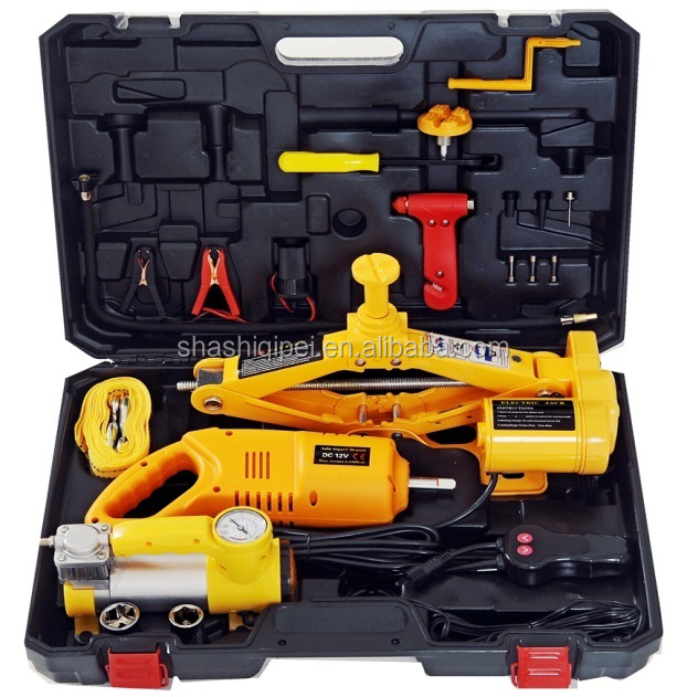3 in 1 electric scissor jack kit with air pump