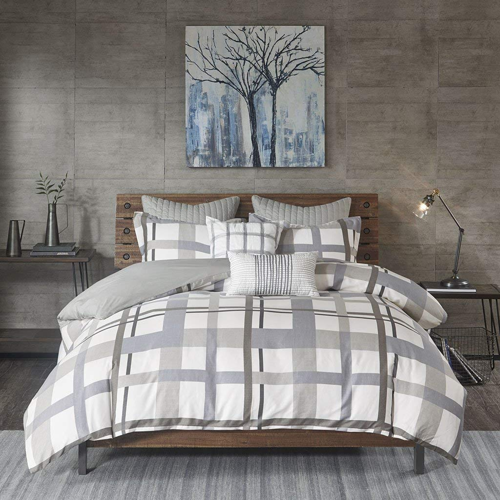 Ink+Ivy Sterling Plaid Duvet Cover King/Cal King Size - Blue Grey, Plaid Duvet Cover Set – 3 Piece – Cotton Light Weight Bed Comforter Covers