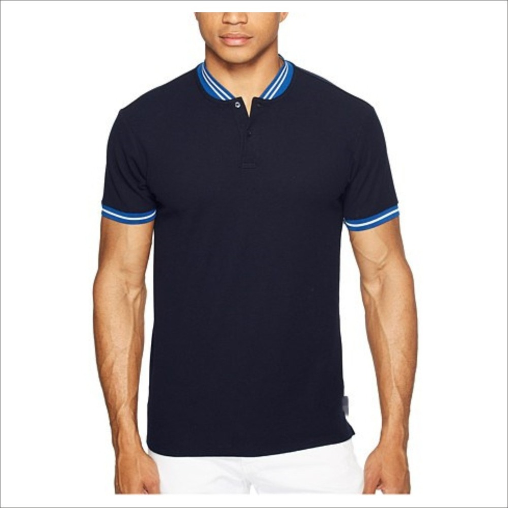 Fashion Blank Slim Fit Polo T Shirt Stand Threaded Collar Polo Shirts For <strong>Men</strong> 100% Cotton