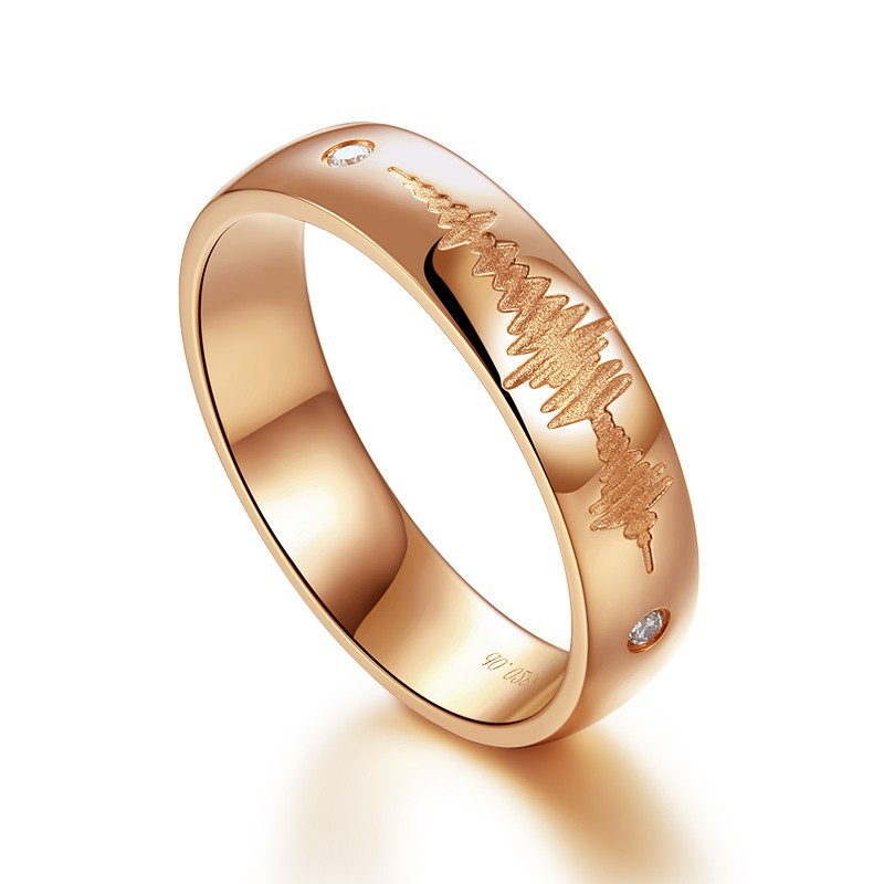 engagement rings gold diamond matte ring band wedding cnc for womens finish rose bandfor dsc