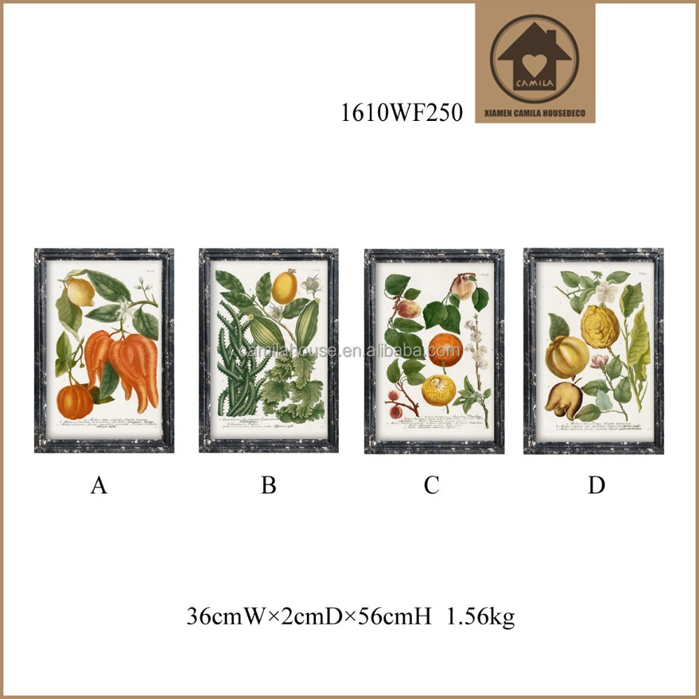 Hand-drawn Vegetables Kitchen Decor Painting Frame Antique