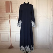 Muslim dress front open button coat pop up stand collar abaya