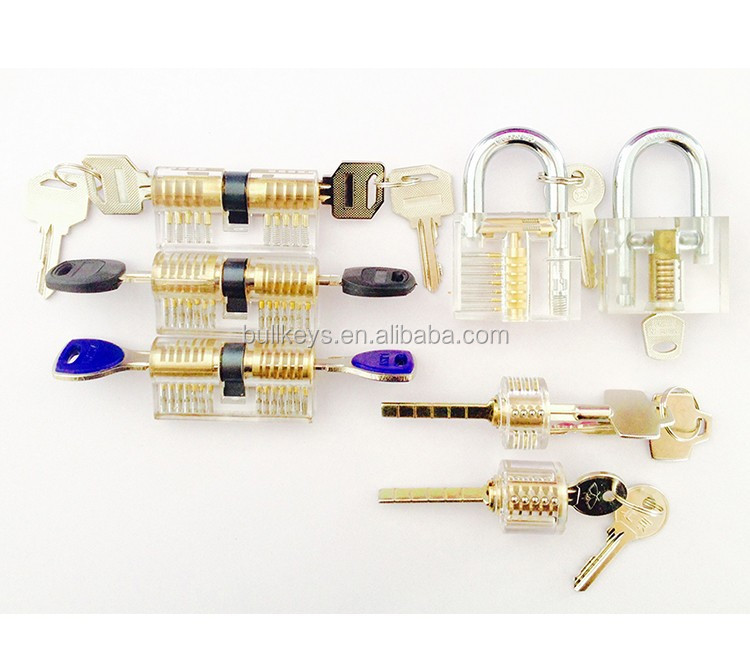 Bullkeys 7 piece Transparent locks locksmith tools practice training skill kits