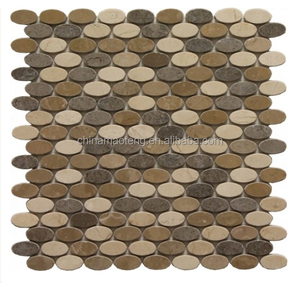 Crema Marfil Tweed Blend Small Oval Pattern Polished Mosaic