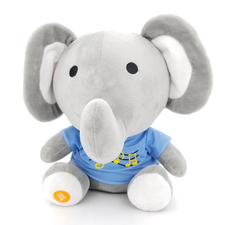 Customized Musical Elephant Toy Stuffed Plush Animal With Sounder