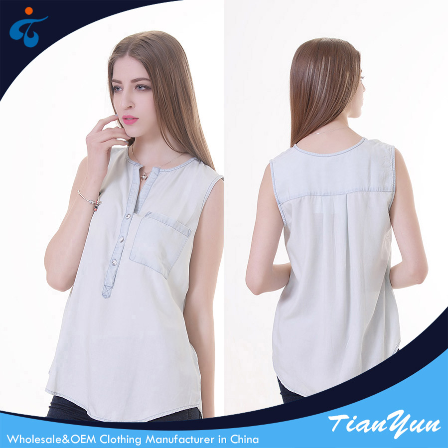 Custom made sample style washed eco-friendly ladies tops low price