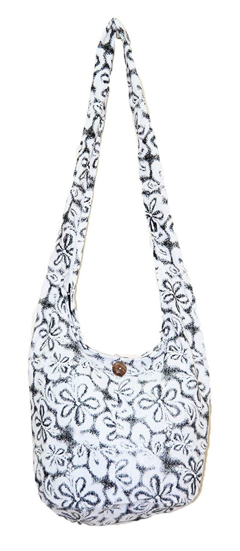 49b444a195e7 Thai Hippie Hobo Sling Crossbody Shoulder Bag Purse Handmade White Flower  Pattern Cotton Gypsy Boho Messenger