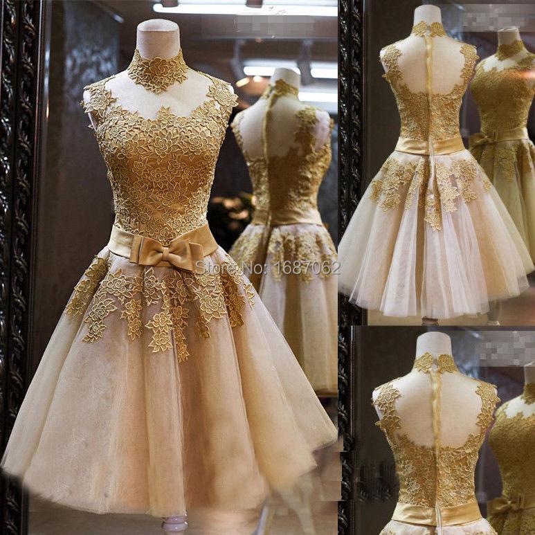 Vintage Short Lace Wedding Dresses Knee Length Gold Bridal