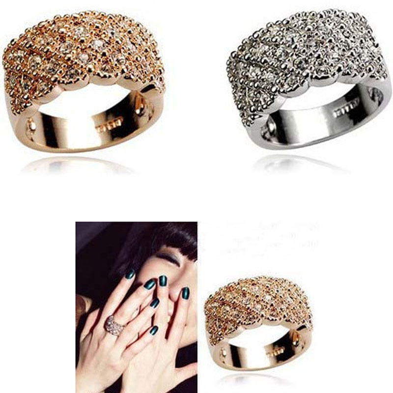 2015 New Fashion Unisex Rose Gold Plated Women Trendy Jewelry Wedding Rings Chrismas Gift Austrian Crystal Rings For Women R581