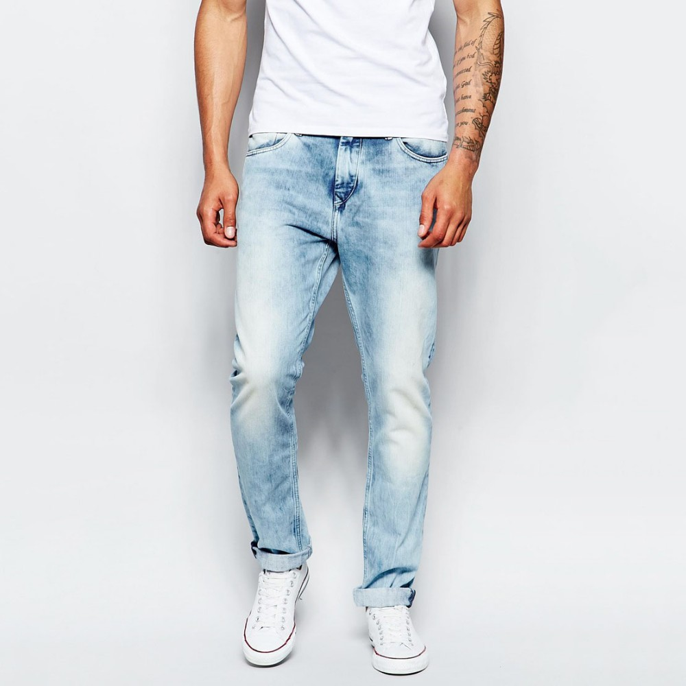 men knee ripped jeans denim skinny blue fashion cool style. Black Bedroom Furniture Sets. Home Design Ideas