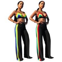 Summer sexy spaghetti strap v neck rainbow stripe patchwork 2 pieces bikini crop tops and long <strong>pants</strong>