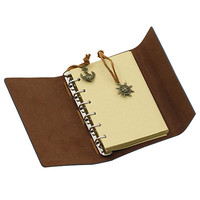 Korean Japan stationery,ancient hardcover A5 pu leather spiral notebook with blank pages