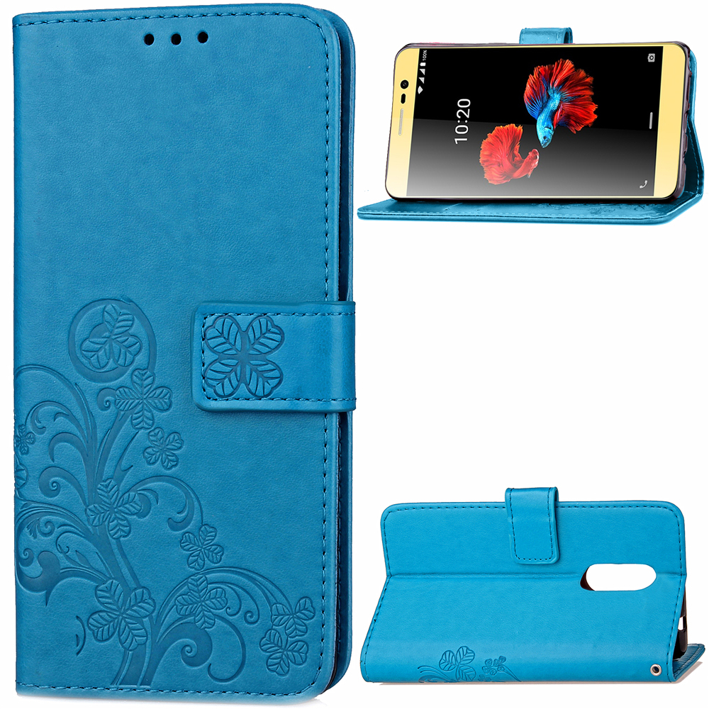 3D Embossed Lucky Clover PU Leather Wallet Case For ZTE Blade A910 with Card Slot Luxury Phone Cover