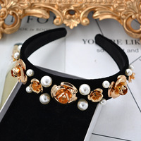 Ladies Luxury Baroque Flower Pearl Headband Handmade Baroque Crown Hairband Pearl Headwear