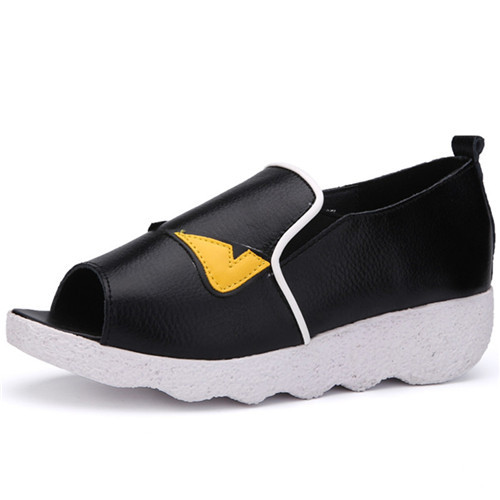 2015 New Arrival Flats Shoes Woman Leather Casual Breathable Peep Toe Shoes Slip On Platform Women Shoes Summer Black Size 35-39